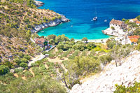 Idyllic beach in hidden cove of Dubovica on Hvar island aerial view