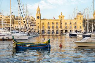 The yachts and boats moored in the harbor in Dockyard creek. Birgu. Malta