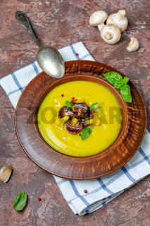 Potato soup-mashed cauliflower with mushrooms.