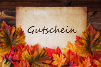 Grungy Old Paper, Colorful Leaves, Gutschein Means Voucher