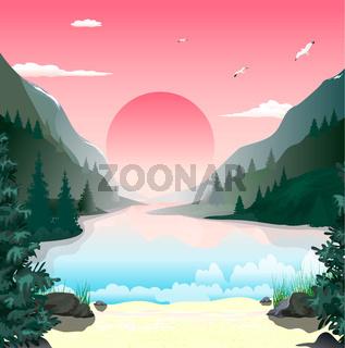 Landscape mountains lake dawn
