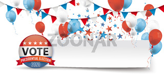 Vote Presidential Election Paper Banner Balloons Header