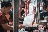 Street butcher shop in Zigong