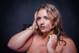 Portrait einer übergewichtigen jungen Frau