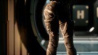 8K Steampunk woman in futuristic space ship