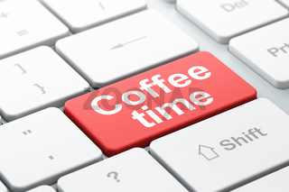 Time concept: Coffee Time on computer keyboard background