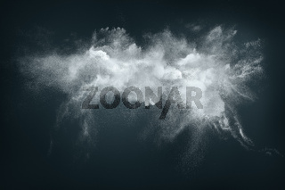 Abstract design of white powder cloud