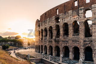 Outdoor view of The Colosseum or Coliseum in Rome