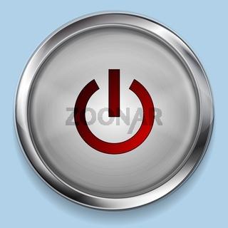 Realistic steel metal power button web design