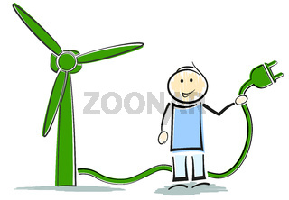 stickman character standing next to wind turbine, green renewable energy concept