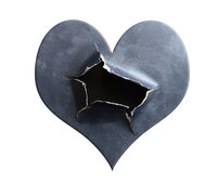 Hole ripped in heart shaped textured blue paper, on white
