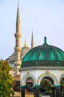 Blue Mosque And The German Fountain, Istanbul, Turkey
