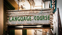 Street Sign to LANGUAGE COURSE