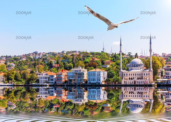 Beylerbeyi Mosque and view on the Asian side of Istanbul from the Bosphorus Strait