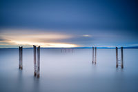 Lake Neusiedlersee long exposure at sunset with jetty