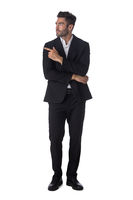 Portrait of business man pointing