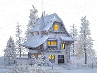 beautiful house covered with snow on white background - 3d rendering