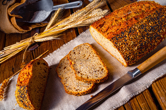 Flaxseed bread with a poppy seed and sesame mixture