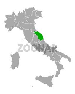 Karte von Marken in Italien - Map of Marche in Italy