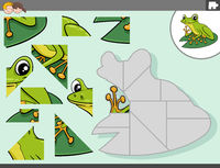 jigsaw puzzle game with green frog animal character