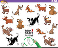 find two same dog characters game for children