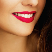 Happy healthy female smile with perfect natural white teeth, beauty face closeup of smiling young woman, bright lipstick makeup and clean skin for dental and healthcare brand