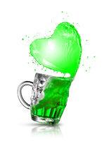 Beer splash in the shape of shamrock leaf.