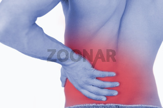Young man experiencing back pain