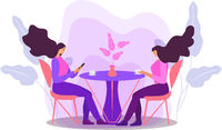 Girls are sitting at a table in a cafe drinking coffee. Women in a restaurant, friends communicate. Flat modern illustration. Vector