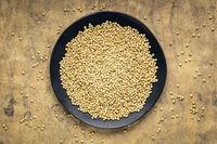 white sorghum grain on a black plate