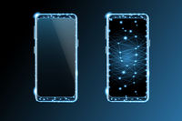 Mobile phone with blank screen - front view vector illustration