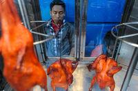 Yangon, Myanmar, Mann steht hinter Strassenstand mit gegrillten Huehnchen