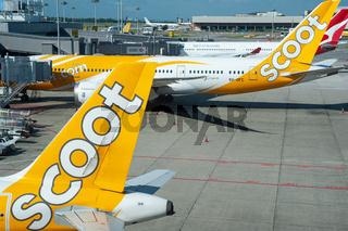 Singapur, Republik Singapur, Passagierflugzeuge der Scoot Airlines auf dem Flughafen Changi