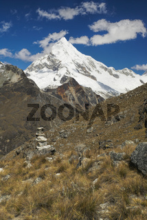 Picturesque view of mountain Huascaran in Andes