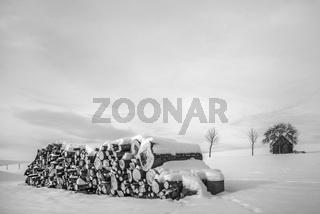 Der Holzstoss im Schnee