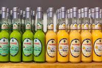 Liquor store with display of local bottles liqueur, Taormina, Sicily