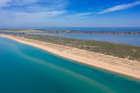 Aerial view on sand beach and Black sea
