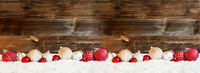 Banner Of Christmas Ball Ornament, Snow, Copy Space