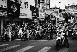 Monochrome Ho Chi Minh City street scene