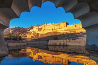 View on Jaipur fort from Dil Aaram Bagh, Jaipur, India