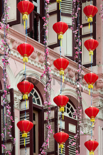 Chinese Lanterns outside a Building in Singapore