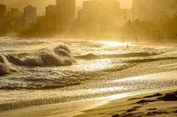 Summer sunset at Ipanema beach in Rio de Janeiro