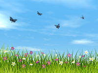 Blue butterflies flying upon a meadow - 3D render
