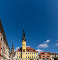 he historic town hall and square in the city center of Bautzen