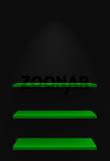 Drei Regale an Wand mit Beleuchtung - Schwarz Grün
