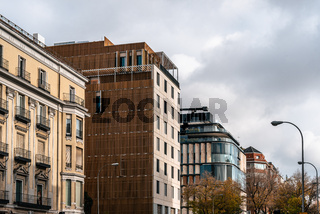 Cityscape with luxury residential apartment buildings in Madrid