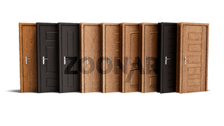 Concept wooden exterior entrance door 3d rendering on white background with shadow