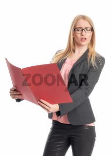 geschäftsfrau hält eine bewerbungsmappe