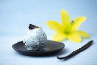 Blaues Vanilleeis mit Pflanze Blaue Klitorie gefärbt