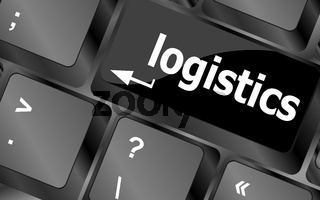 logistics words on laptop keyboard, business concept